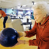 Globe/T. Rob Brown<br /> Billie Camp, 95, of Joplin, size up her throw Tuesday afternoon, Jan. 17, 2012, at Fourth Street Bowl in Joplin.