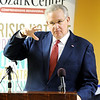 Globe/T. Rob Brown<br /> Missouri Gov. Jay Nixon speaks at Will's Place, a healing center for kids and part of Ozark Center, on West 30th Street in Joplin Tuesday afternoon, Jan. 10, 2012. The facility is named after Will Norton, a Joplin High School student who had just graduated May 22, 2012, before the tornado took his life.