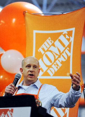 Globe/T. Rob Brown<br /> Store Manager Steve Cope speaks during the grand re-opening event Wednesday evening, Jan. 11, 2012, for The Home Depot on Range Line Road in Joplin.