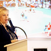 Globe/T. Rob Brown<br /> Jenny Hocker, Keller Williams sales associate and chairperson of the Joplin Rotary Tornado Taskforce, announces a $150,000 donation from KW Cares (a charitable organization attached to Keller Williams) for the Will Norton Memorial Miracle Field to be built by the Joplin Rotary Club, including $358,000 already received from other Rotarians around the country. The facility, planned to be built at the Joplin Athletic Complex, will be for children with disabilities.