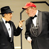 "Globe/T. Rob Brown<br /> Chet Fritz, left, and Jim Lile act out the famous Laurel & Hardy comedy sketch, ""Who's On First,"" during a dress rehearsal Monday night, Jan. 30, 2012, for the revue ""Let's Swing!"" a tribute to the music of the 1940s, directed by Cecie Fritz at the Joplin Little Theatre."