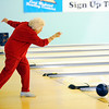 Globe/T. Rob Brown<br /> Billie Camp, 95, of Joplin, bowls Tuesday afternoon, Jan. 17, 2012, at Fourth Street Bowl in Joplin.