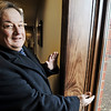 Globe/T. Rob Brown<br /> Tom Moore, a professional engineer and an elder with the Kingdom Hall of Jehova's Witnesses, shows Friday morning, Jan. 27, 2012, how thick the exterior walls are at the new hall at 13th Street and Schifferdecker Avenue, which was built since the tornado.