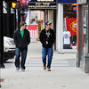 Globe/T. Rob Brown<br /> College friends Michael Benson (left), freshman automotive technology major, and Cameron Scholz, elementary education major, both Pittsburg State University students from Kansas City, Kan., walk along Broadway in downton Pittsburg after classes.