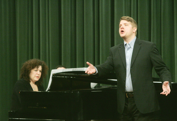 Globe/Roger Nomer<br /> Reena Berger Natenberg and Patrick Howle perform a selection by Francis Poulenc during a recital at Corley Auditorium on Tuesday afternoon.  Howle, who is a voice and opera instructor at Pittsburg State, will perform with Natenberg next week at Carnegie Hall in New York.