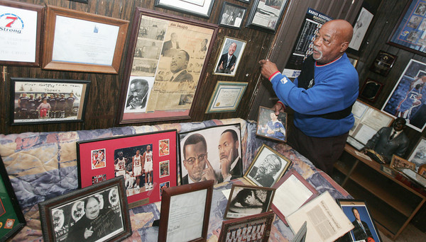Globe/Roger Nomer<br /> Floyd Cavitt talks about some of the letters and proclaimations he has received from notable people during his years of leading the Martin Luther King celebration in Oswego.