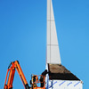 Globe/T. Rob Brown<br /> Keith Weiss, foreman with Midland Erectors, roofs an area around the recently-installed steeple Wednesday afternoon, Jan. 16, 2013, at Harmony Heights Baptist Church, 2000 block of Indiana Avenue, in Joplin.