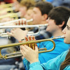 Globe/T. Rob Brown<br /> Sophomore Zina Trevino and the rest of the trumpet line practice Friday morning, Jan. 4, 2013, in Laurie Kinder-Lang's class at McDonald County High School's band room for their upcoming presidential performance.