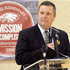 Joplin R-VIII Superintendent of Schools C.J. Huff speaks to students and guests during a ribbon cutting ceremony for the new Irving Elementary School on Friday morning. The $18.5 million facility replaces the former school, which was destroyed in the May, 2011 tornado.<br /> Globe | Laurie Sisk