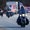 Globe/Roger Nomer<br /> Patriot Guard riders escort Rob Jones into Pittsburg on Thursday morning.