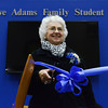 Globe/Roger Nomer<br /> Eve Adams, Southwest City, prepares to cut the ribbon at the John and Eve Adams Family Student Commons at the Crowder College McDonald County Campus on Friday.