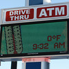 Globe/Roger Nomer<br /> The Arvest Bank sign at 7th and Main reads 0 degrees on Monday morning.