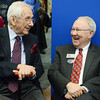 Globe/Roger Nomer<br /> Jim Tatum and Rudy Farber chat before the ribbon cutting at the new Crowder College McDonald County Campus building on Friday morning. Both men are donors for the project, and the building is named in honor of Tatum.