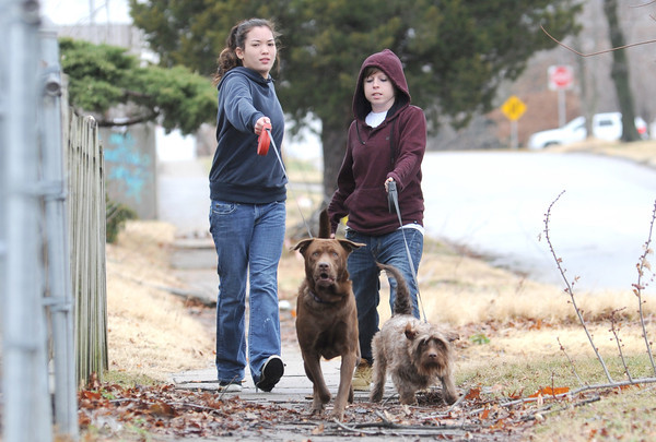 "From the left: Mariana Rodriguez and Marissa Atteberry walk their dogs, ""Mister Ziggy"" and ""Marley"" near 30th and South Joplin streets on Friday afternoon.<br /> Globe 