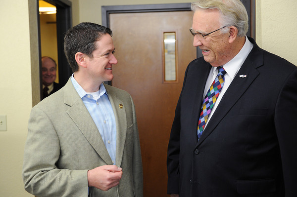 Globe/Roger Nomer<br /> Missouri Speaker of the House Tim Jones, left, talks with Lee Allphin, owner and president of Employer Advantage, during a stop at the business on Friday.