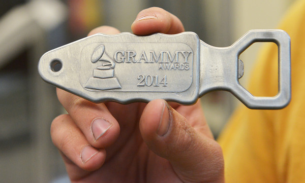 Globe/Roger Nomer<br /> Tyler Dietzschold, a Chillicothe senior at Pittsburg State, has made bottle openers that will be included in a gift suite at the Grammy Awards.