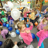 Kindergarten children in both Janet Williamson's and Nikki Williams' classes celebrate the first 100 days of school this academic year on Wednesday at Lincoln Elementary School in Baxter Springs. Pictured lower right is kindergartner Grace Murray.<br /> Globe | Laurie Sisk