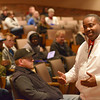"Globe/Roger Nomer<br /> Brother Moses gives his presentation ""Let Freedom Ring"" to students at Missouri Southern in Corley Auditorium on Tuesday afternoon. Moses is a touring speaker known for portraying Martin Luther King Jr. He was brought to the college by MSSU's Campus Activities Board for MLK week, a visit postponed by weather last week."