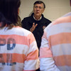 Globe/Roger Nomer<br /> Chaplain Tim Sumners talks with inmates at the Joplin jail on Friday morning.