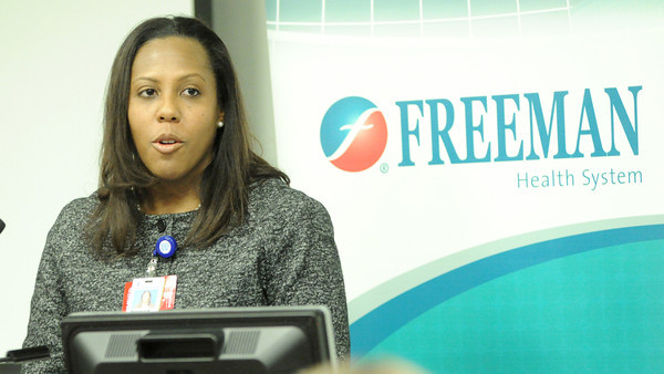 Marshaun Butler, Vice President of Children's Kansas City, speaks during a press conference announcing a partnership between her hospital and Freeman's on Tuesday morning at Freeman west.<br /> Globe | Laurie Sisk