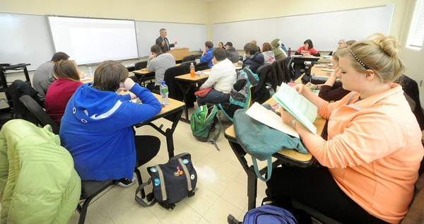 Missouri Southern professor Dale Simpson talks about J.R.R. Tolkien;s philosophy on art during his ENG 371 class: Tolkien.<br /> Globe | Laurie Sisk