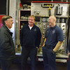 Globe/Roger Nomer<br /> (from left) Chaplain Tim Sumners talks with Fire Training Chief Andy Nimmo, Tyler Lorenz, firefighter, and David Holden, driver engineer, talk at the Joplin Fire Station #3 on Friday morning.