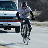 Globe/Roger Nomer<br /> Rob Jones rides into Pittsburg during his cross-country bike ride on Thursday.