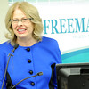 Freeman President and Chief executive Officer Paula Baker announces a new partnership between Freeman's and Kansas City Children's Hospital for pediatric services in Joplin during a press conference at the hospital on Tuesday morning.<br /> Globe | Laurie Sisk
