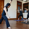 Globe/Roger Nomer<br /> Dai Flake leads Staci Hundt, left, and Sherri Garvin in a yoga session on Wednesday morning.