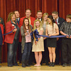 Globe/Roger Nomer<br /> East Middle School students, chamber and school officials cut the ribbon on the new East Middle School during an assembly on Monday morning. The new school replaces the old East Middle School, damaged in the 2011 tornado.