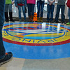 Globe/Roger Nomer<br /> One of the new school traditions Irving Elementary students learned on Thursday was not to step on the school seal.