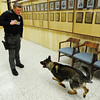 Joplin Police Department K-9 handler Jeremy Bland with Pax, a 2-year-old German shepherd Monday afternoon, Jan. 6, 2014, at the department's main offices in downtown Joplin.<br /> Globe | T. Rob Brown