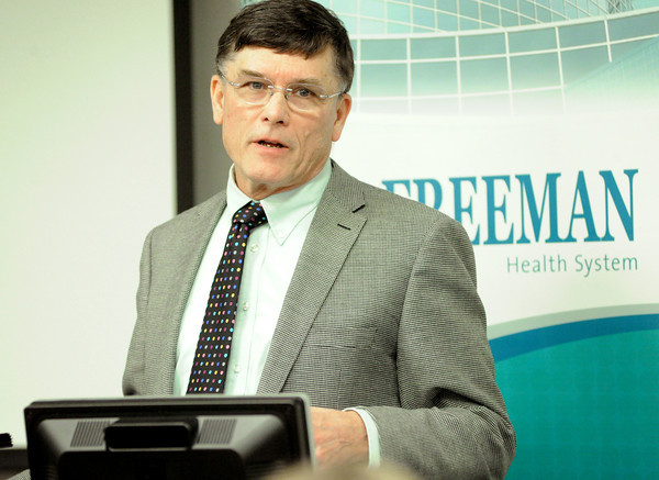 Dr. Charles Roberts, executive medical director at Children's Mercy of Kansas City , details the advantages of a new partnership between Freeman Hospital and his institution during a press conference on Tuesday at Freeman West.<br /> Globe | Laurie Sisk