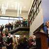 Globe/Roger Nomer<br /> Pam Hudson, director of the Crowder College McDonald County Campus, welcomes the crowd the facility on Friday morning.