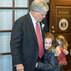 Senator Ron Richard greets a family member in his office at the state capitol in Jefferson City before being sworn-in Wednesday. Globe/David Stonner