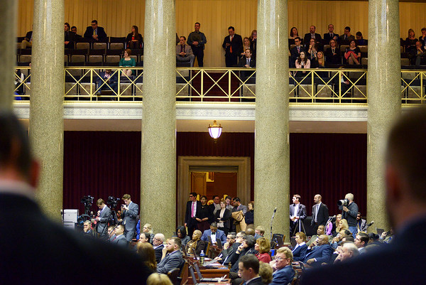 Justin L. Stewart/Special to the Joplin Globe<br /> <br /> Members of the Missouri House of Representatives clap during Speaker of the House Todd Richardson's opening speech at the Capital in Jefferson City, Mo. Wednesday, January 6, 2016 during their opening legislative session. Richardson took the position after John Diehl resigned the last day of the 2015 session following a scandal with an intern.