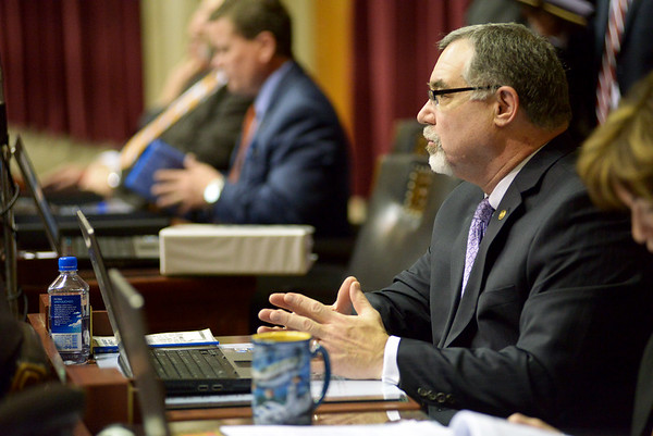 Justin L. Stewart/Special to the Joplin Globe<br /> <br /> Representative Tom Flanigan listens to Speaker of the House Todd Richardson's opening speech to the Missouri House of Representatives at the Capital in Jefferson City, Mo. Wednesday, January 6, 2016 during their opening legislative session.
