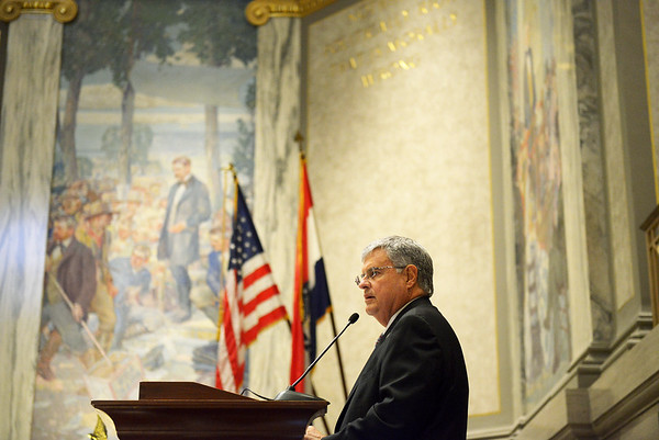 Justin L. Stewart/Special to the Joplin Globe<br /> <br /> Senator Ron Richard calls on senators during their first legislative session of the year at the Capital in Jefferson City, Mo. Wednesday, January 6, 2016.