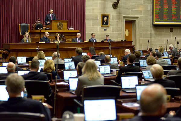 Justin L. Stewart/Special to the Joplin Globe<br /> <br /> Speaker of the House Todd Richardson gives an opening speech to the Missouri House of Representatives at the Capital in Jefferson City, Mo. Wednesday, January 6, 2016 during their opening legislative session. Richardson took the position after John Diehl resigned the last day of the 2015 session following a scandal with an intern.