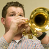 Globe/Roger Nomer<br /> Tyler Jones, a Missouri Southern senior from Webb City, rehearses with the trumpet ensemble on Monday at MSSU.
