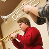 Globe/Roger Nomer<br /> Austin Kinard, a Missouri Southern junior from Ocala, Florida, rehearses with the trumpet ensemble on Monday at MSSU.