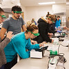 Globe/Roger Nomer<br /> Students work with new equipment during Instrumental Analysis on Thursday at Missouri Southern.