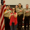 Globe/Roger Nomer<br /> Skyler Gooch, eighth grade, leads the National Anthem for National Law Enforcement Appreciation Day on Monday at Carl Junction Junior High School. The school honored first responders of the Jasper County Sheriff's Department, Carl Junction Police Department and Carl Junction Fire Department.