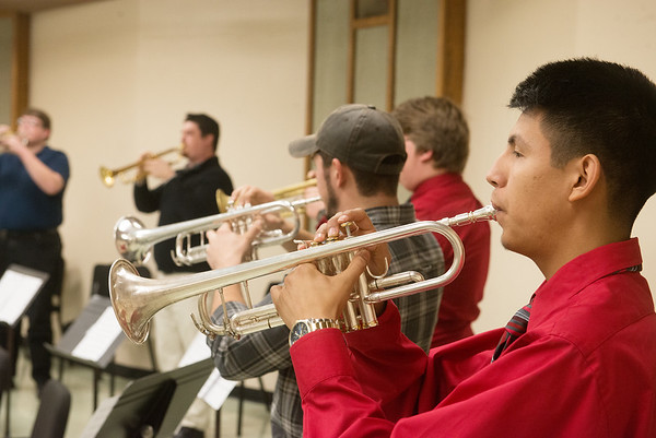 Globe/Roger Nomer<br /> Valentin Vizcaino, a Missouri Southern freshman from Monett, rehearses with the trumpet ensemble on Monday at MSSU.