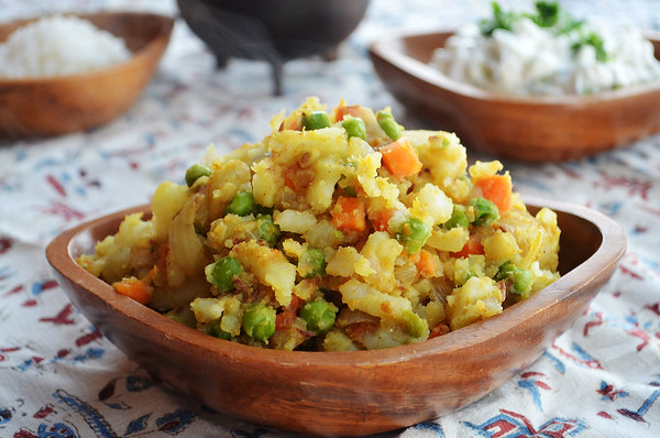 This dish of potatoes, peas and carrots cooked with cumin was inspired by Indian samosas. It's delicious and a lot healthier.