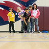 Globe/Roger Nomer<br /> Dayton Hunter, third grade, and his classmates demonstrate games played by students 100 years ago during the 100th birthday celebration on Monday at Royal Heights Elementary.