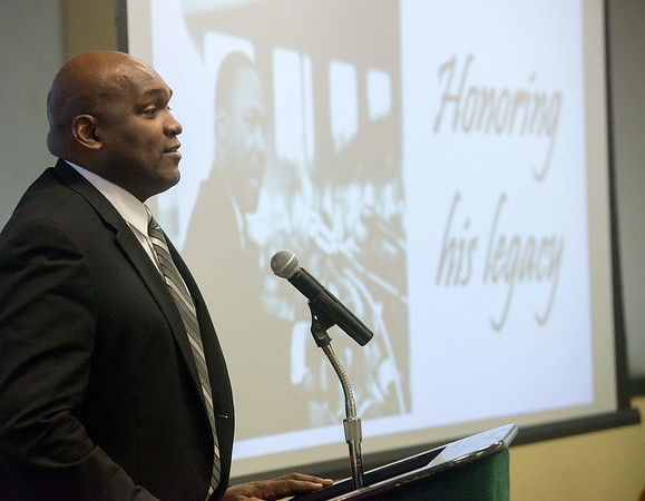 Globe/Roger Nomer<br /> Alvin Miller gives his address on Monday during the Martin Luther King Jr. Breakfast at Missouri Southern.