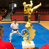 Globe/Roger Nomer<br /> Parker Yeager, 10, St. Louis, competes for the judges during the Joplin Eye of the Storm Invitational Karate Tournament at Memorial Hall. On Saturday, Yeager won the Junior Grand division trophy.
