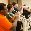 Globe/Roger Nomer<br /> (from left) Jemetris Brown, a Missouri Southern sophomore from Orlando, Tony Sfortunato, a senior from Carl Junction, and Oliver Smith, a sophomore from Carthage, rehearse with the trumpet ensemble on Monday at MSSU.