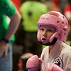 Globe/Roger Nomer<br /> LeAndra Shotts, 10, Nevada, prepares for her opponent on Saturday during the Joplin Eye of the Storm Invitational Karate Tournament at Memorial Hall.